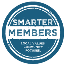 Smarter members icon, local values. community focused.