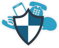 Access your accounts safely and securely by phone icon