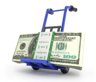 cash on a hand truck